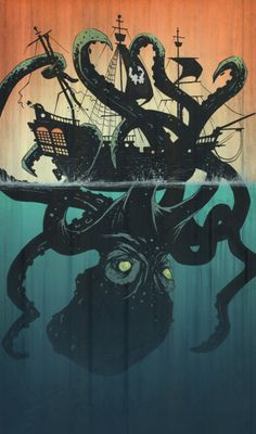 Lovely graphic art on the theme of a kraken. The colours are wonderful