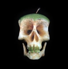 Skulls carved from fruit and veggies