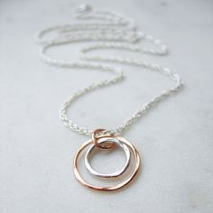 Hammered Silver and Rose Gold Circles Necklace - product images  of