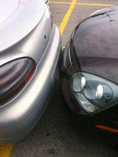 Dum driver in parking lot!