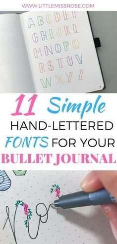 Want some simple examples of hand-lettered fonts for you bullet journal? Click here!