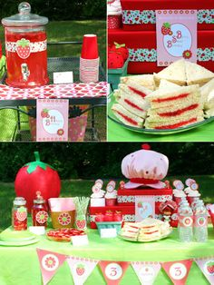 Strawberry Shortcake Party- I think If Paige still loves it next year that can be her Birthday 4th Birthday Parties, Birthday Fun, Birthday Ideas, Strawberry Shortcake Birthday, Fiestas Party, Bird Party, Party Decoration, Baby Shower, First Birthdays