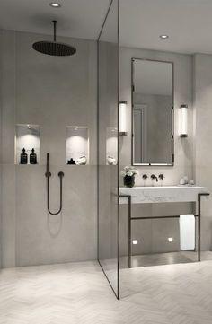 Modern, minimalist bathroom with walk-in shower .- Modernes, minimalistisches Badezimmer mit ebenerdiger Dusche – just luxux Modern, minimalist bathroom with walk-in shower -