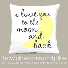 Custom i love you to the moon and back  throw pillow and removable pillowcase new baby gift on Etsy, $26.16 CAD baby pillows, pillow baby, new baby gifts, gifts for new mommy, toddler pillow, throw pillows, sewing pillows decorative, embroidery pillowcases