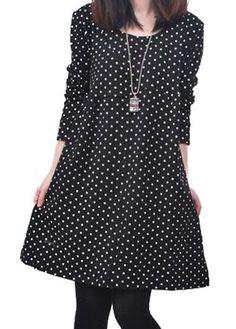 cute black polka dot long sleeve tunic dress