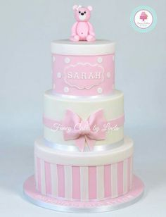 Pink teddy bear cake with bow