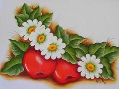 Maçãs com flores, pintura