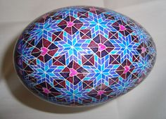 Modern Pysanky Goose Egg in Blues with heart and star accents by JustCindyArt on Etsy https://www.etsy.com/listing/177302971/modern-pysanky-goose-egg-in-blues-with