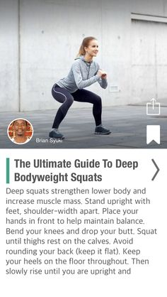 The Ultimate Guide To Deep Bodyweight Squats - via @CureJoy