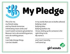 Free Girl Scout Anti-Bullying Pledge, BFF, Be a Friend First, Making Friends Badge