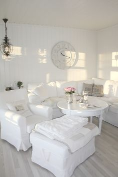 Shabby Chic Living Room. Almost too white but I like how clean it looks.