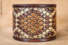 Hand tooled leather cuff rattlesnake snakeskin by ARCHERIA on Etsy Leather Art, Leather Cuffs, Leather Tooling, Leather Jewelry, Tooled Leather, Archery Gear, Body Jewelry, Diy Jewellery, Leather Projects