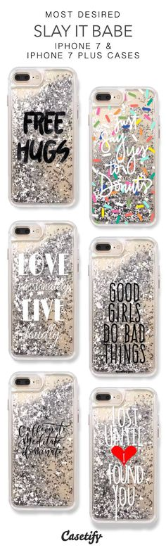 Most Desired Slay it Babe iPhone 7 Cases & iPhone 7 Plus Cases. More Protective Liquid Glitter Quotes iPhone case here > https://www.casetify.com/en_US/collections/iphone-7-glitter-cases#/?vc=KJzkHoNH