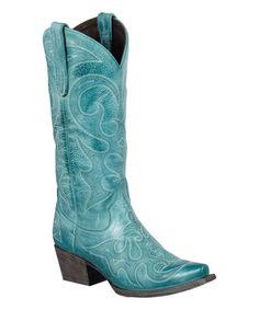 Look at this #zulilyfind! Turquoise Love Sick Leather Cowboy Boot #zulilyfinds