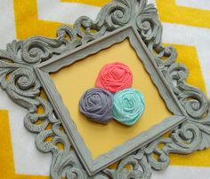 Rosette Brooch in Charcoal Grey, Coral Pink, and Mint Green, Charming Hand-Made Fabric Flower Pin in Teal, Grey, and Coral
