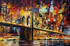 BROOKLYN BRIDGE - Oil painting by Leonid Afremov. One day offer - $109 include shipping https://afremov.com/BROOKLYN-BRIDGE-PALETTE-KNIFE-Oil-Painting-On-Canvas-By-Leonid-Afremov-Size-36-x24-90cm-x-60cm-offer.html?bid=1&partner=20921&utm_medium=/offer&utm_campaign=v-ADD-YOUR&utm_source=s-offer