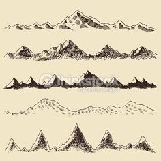 Clipart vectoriel : Mountains set contours Engraving Vector Hand Draw