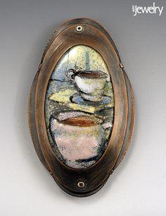 Brooch by Callie Huskins.    Enamel, copper.    3 1/2 x 1 1/2 in.