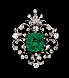 A rare Victorian emerald and diamond pendant-brooch created in 1880 by Black, Starr & Frost.
