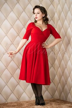 b3e64366a3ef 50s Trixie Doll Swing Dress in Red