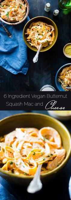 6 Ingredient Vegan Mac and Cheese with Spiralized Butternut Squash Noodles - So creamy you will never guess it's a healthy, gluten and grain free, vegan mac and cheese that is SO easy to make! | http://Foodfaithfitness.com | /FoodFaithFit/