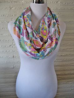 LONG pastel Spring colors Tribal Tropical Feathers Jersey Knit Infinity Scarf by ChevronScarf