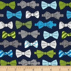 This whole line is fabulous!  Fox and The Houndstooth Bowties Navy from @fabricdotcom  Designed by Andie Hanna for Robert Kaufman, this fabric is perfect for quilting, apparel and home décor accents.  Colors include aqua, white, charcoal, grey, lime and green on a navy background.
