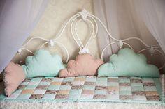 Купить Комплект в кроватку НЕЖНОСТЬ - мятный, детская комната, одеяло пэчворк, одеяло детское