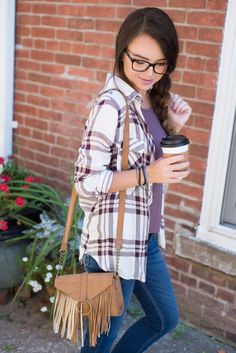 Fall plaid   Casual fall outfit   Warby Parker glasses   glasses for women   #warbyparker