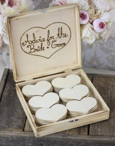 Advice Hearts or use as Wedding Guest Book Box (or double as both) name on one side, message on other. Drill hole to add twine to make into ornaments
