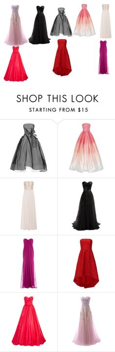"""Gown town"" by rachelunderscorelovesfashion ❤ liked on Polyvore featuring Maticevski, Naeem Khan, Alexander McQueen, ML Monique Lhuillier and Oscar de la Renta"