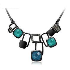 (V) Gun metall belagt halsband med AT Swarovski kristaller