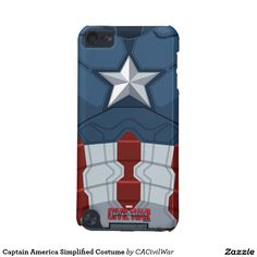 Captain America Simplified Costume iPod Touch (5th Generation) Case. Regalos, Gifts. #carcasas #cases