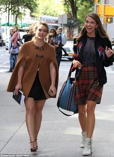 Chic co-star: Sutton Foster and Hilary on the set of Younger looking more beautiful than ever. Catch more Younger style inspiration at http://www.tvland.com/shows/younger.