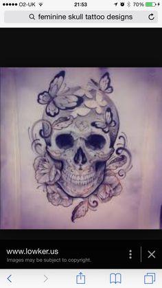 Feminine skull tattoo design sugar skull real skull engraved