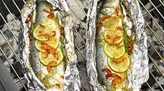 SEA BASS WITH CHILLI, GINGER AND LIME. If you don't fancy whole fish, ask our Morrisons Fishmonger to fillet it for you. They'll even give you some flavoured butter to pop inside the foil parcel. Oily fish such as mackerel or salmon can go straight on the grill – a skewer inserted on either side will help you turn it.