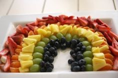 fruit rainbow - substitute safe fruits...watermelon, apricots, mango, pear, green grapes and blue berries