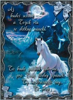 Krásné snění obraz 9 Good Night, Horses, Humor, Cards, Movie Posters, Quotes, Pictures, Cute, Qoutes