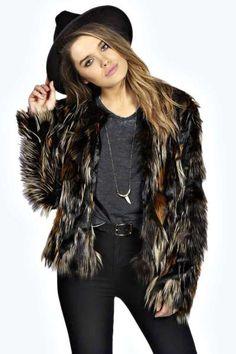 Carmel Pieced Faux Fur Coat