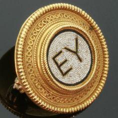 Micro mosaic gold pin by Castellani. via Etsy.