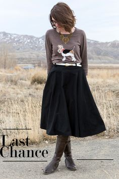 What I Wore: Last Chance  @Joules G  fox terrier sweater with black midi skirt