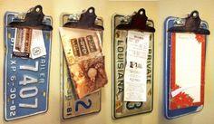 Repurposed License Plate Clipboards.
