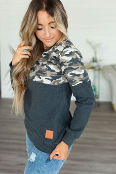 newest collection c85ee 450b5 PREORDER Camo Accent Color Block Pullover Final Sale (Final Sale, Proc –  Declan +
