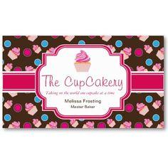 Brown and Pink Cute Cupcake Bakery Business Cards - zazzle
