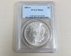 1881 S Silver Morgan Dollar MS64 PCGS Graded Coin in Hard Plastic Case United States - Free Shipping!!