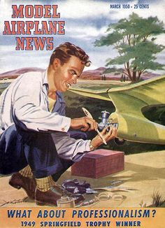 Model Airplane News - March 1950 - Magazine Cover Poster