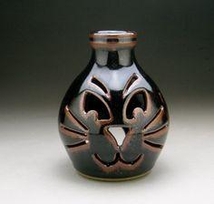 Black Kitty Cat Ceramic Luminary by meeshspottery on Etsy