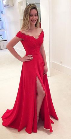 Red Off-the-Shoulder Split Front A-line Prom Dresses,Sexy prom dress,