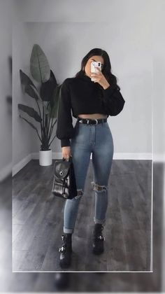 Stylish Winter Outfits, Cute Comfy Outfits, Edgy Outfits, Simple Outfits, Girl Outfits, Fashion Outfits, Teenager Outfits, Aesthetic Clothes, Ideias Fashion