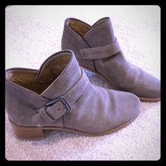 "Stewart Weitzman Suede Bootie An antiqued-silver buckle adds polish to a rugged, weather-resistant suede bootie with a stacked heel. 1 3/4"" heel. 4"" boot shaft. Slip-on with adjustable buckle closure. Suede upper/leather lining/rubber sole. Stewart Weitzman Shoes Ankle Boots & Booties"